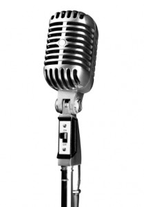 Retro style microphone from Elvis Presley times. Isolated with clipping path for easy and fast design.